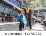 happiness asian couple traveler ... | Shutterstock . vector #692707789