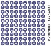 100 dialog icons set in purple...   Shutterstock .eps vector #692713867