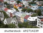 colorful houses in reykjavik ... | Shutterstock . vector #692714239