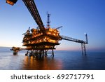 offshore oil rig in the middle... | Shutterstock . vector #692717791