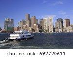 Boston Skyline And Harbor  Usa