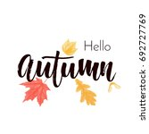 hello autumn text poster of... | Shutterstock .eps vector #692727769