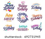 happy birthday elegant brush... | Shutterstock .eps vector #692731945