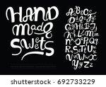 handwritten vector font ... | Shutterstock .eps vector #692733229