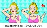 pop of cartoon woman do... | Shutterstock .eps vector #692735089