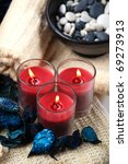 Three Red Candles And A Bowl O...