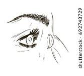 eyes with lenses. girl putting... | Shutterstock .eps vector #692743729