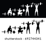 exercise weightlifting | Shutterstock .eps vector #692744341