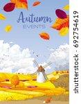 autumn rural landscape vector...   Shutterstock .eps vector #692754619