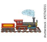 vintage steam locomotive vector ... | Shutterstock .eps vector #692762011