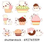 collection of cute pandas with... | Shutterstock .eps vector #692765509