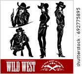 silhouettes of western cowgirls.... | Shutterstock .eps vector #692775895