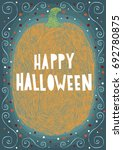 happy halloween holidays hand... | Shutterstock .eps vector #692780875