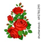 Stock vector beautiful red roses with buds isolated on white background 692781295