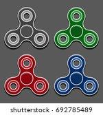 hand fidget spinner icons set... | Shutterstock .eps vector #692785489