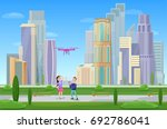 modern cityscape with...   Shutterstock .eps vector #692786041