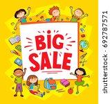 banner kid child funny cartoon... | Shutterstock .eps vector #692787571