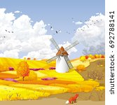 autumn rural vector landscape... | Shutterstock .eps vector #692788141