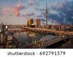 tokyo cityscape at twilight... | Shutterstock . vector #692791579