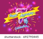 happy 7th anniversary. glass... | Shutterstock . vector #692793445