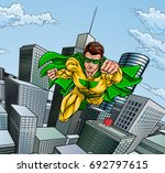 super hero with a cape in a... | Shutterstock .eps vector #692797615