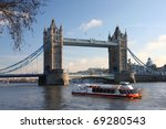 Tower Bridge With Boat  London...