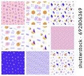 retro memphis seamless patterns.... | Shutterstock .eps vector #692806369