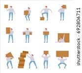 man carrying box vector... | Shutterstock .eps vector #692806711