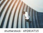 businessman running fast... | Shutterstock . vector #692814715