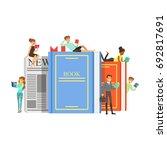 micro young women and men... | Shutterstock .eps vector #692817691