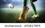 soccer goal moment. mixed media | Shutterstock . vector #692817895