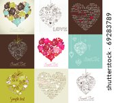 greeting cards with heart | Shutterstock .eps vector #69283789