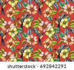 seamless neon floral pattern... | Shutterstock . vector #692842291