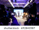television camera broadcasting... | Shutterstock . vector #692843587