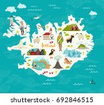 cartoon map of iceland for kid... | Shutterstock . vector #692846515