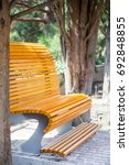 Comfortable Wooden Bench In A...