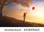 cute little happy girl walking... | Shutterstock . vector #692849665