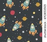 hand drawn rocket print.  | Shutterstock .eps vector #692853505
