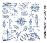 sea or ocean underwater life... | Shutterstock . vector #692854501