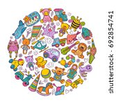 childrens toys icon set in... | Shutterstock . vector #692854741
