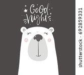 good night print with cute bear ... | Shutterstock .eps vector #692859331