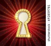 vector golden keyhole. vip... | Shutterstock .eps vector #692859781