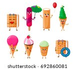 ice cream character set  waffle ... | Shutterstock .eps vector #692860081