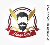 black man hair cut with beard... | Shutterstock .eps vector #692867935