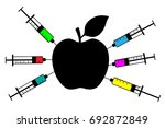 apple with a syringe  nitrates | Shutterstock .eps vector #692872849