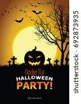 halloween invitation. vector... | Shutterstock .eps vector #692873935