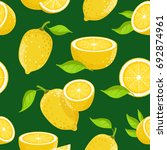 lemon and different slices on... | Shutterstock . vector #692874961