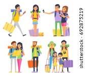 tourist group of happy people... | Shutterstock . vector #692875219