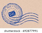 round air mail blue postmark... | Shutterstock .eps vector #692877991