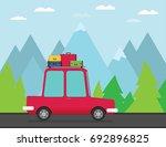 travel car. vector illustration. | Shutterstock .eps vector #692896825